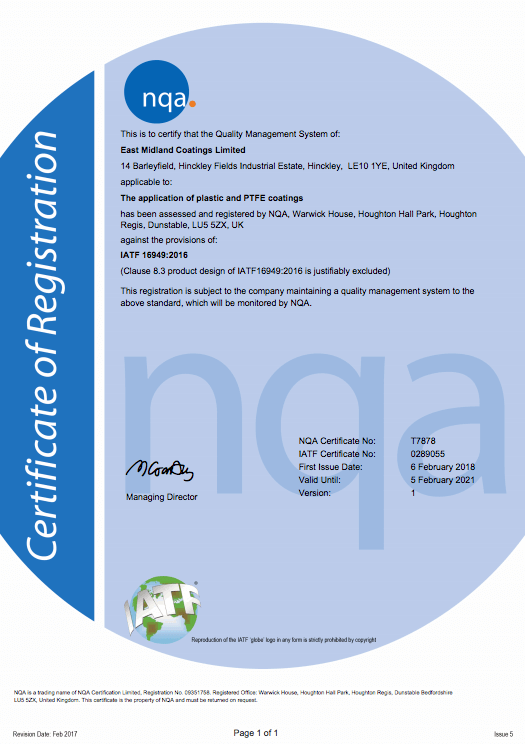 Quality | East Midlands Coatings | TS Certificate