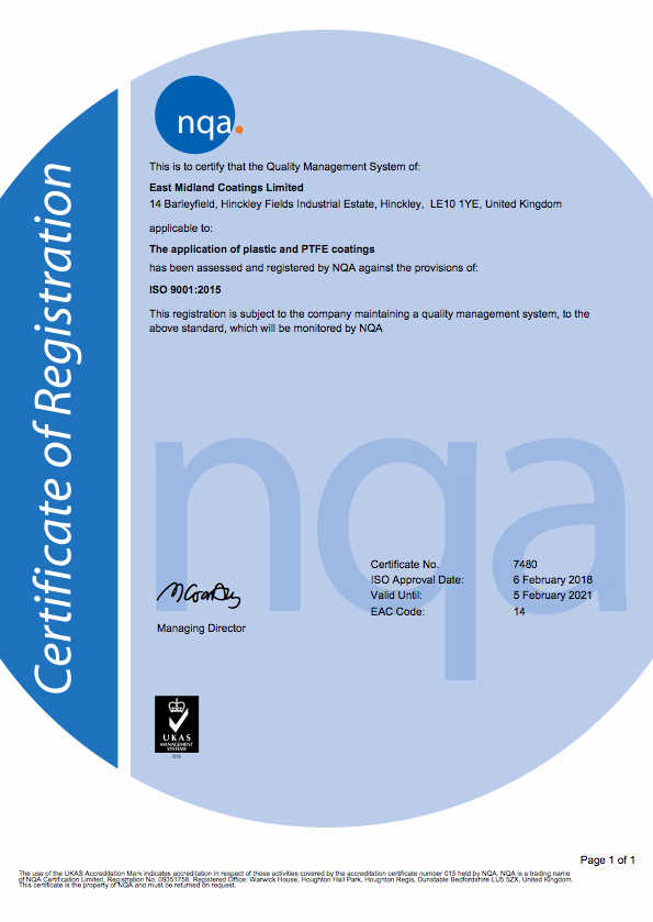 Quality | East Midlands Coatings | ISO Certificate